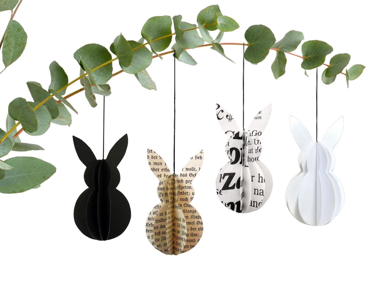 Osterdeko-Idee-Schale aus Beton mit Osterhasen aus Holz