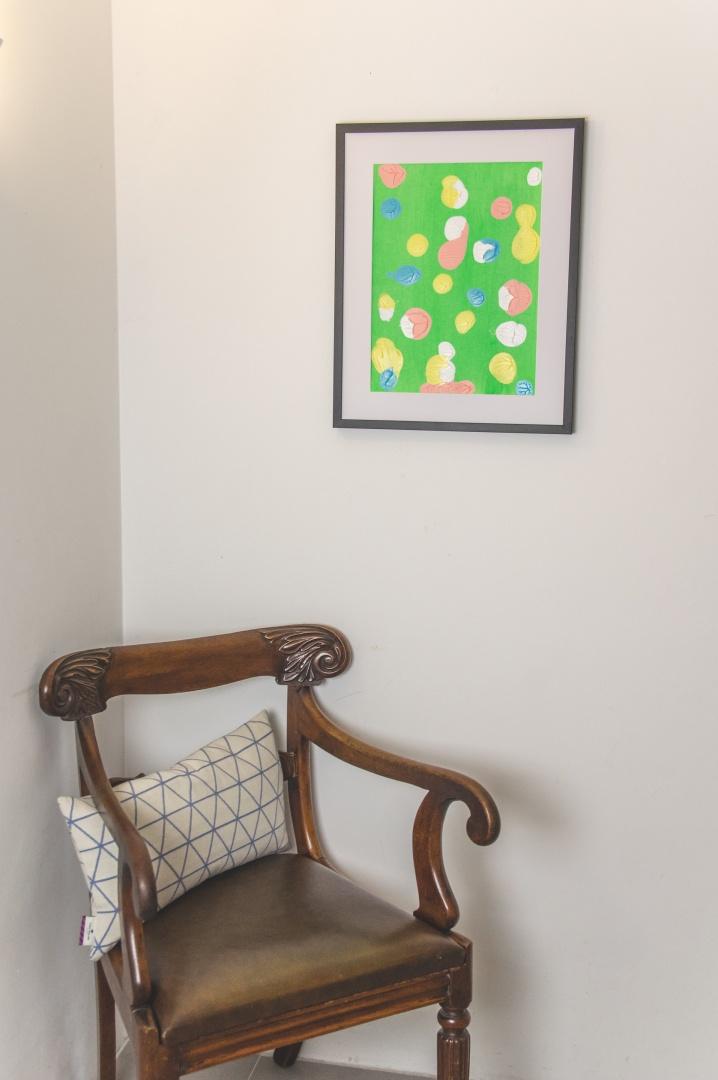 Hangemaltes abstraktes Acryl-Bild mit Punkten