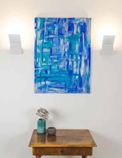 Acryl-Leinwandbild: Blauer Farbstrich