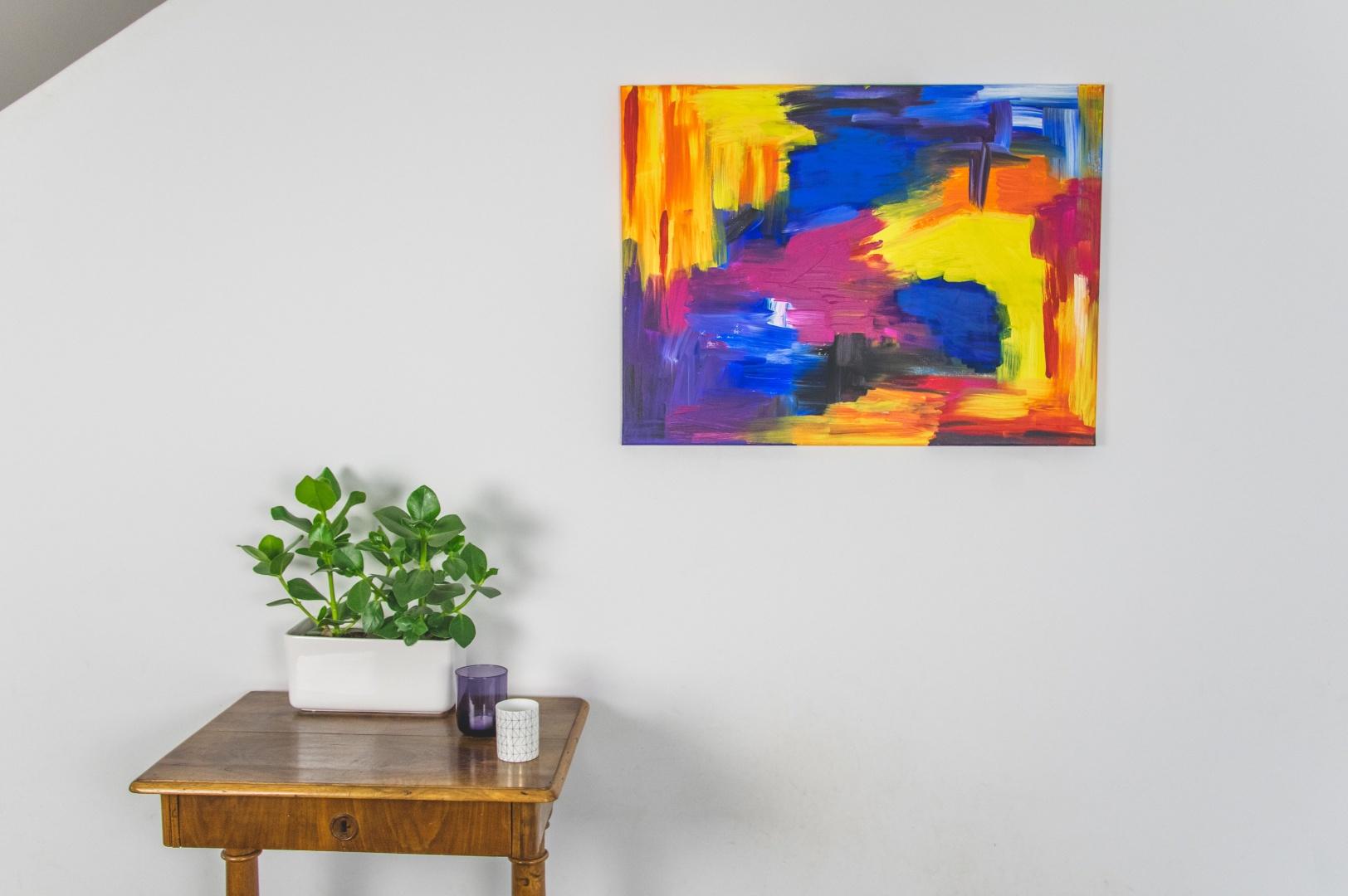 Hangemaltes absraktes, großes Acryl-Leinwandbild, big wall art