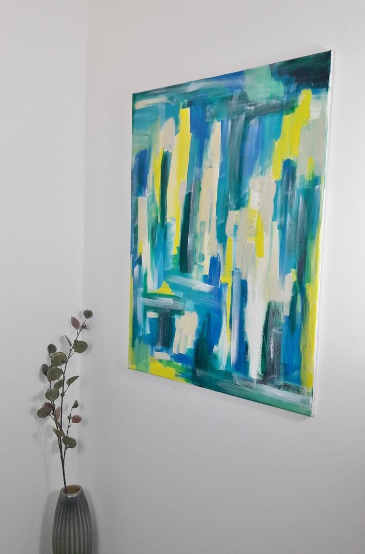 Leinwandbild in Blau, Grün und Gelb für den Frühling