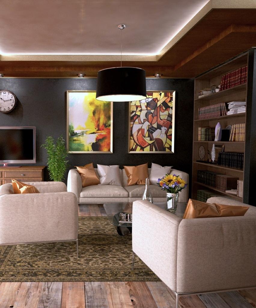 zwei große Leinwandbilder werden zu einem großen Objekt, big wall art im Wohnzimmer
