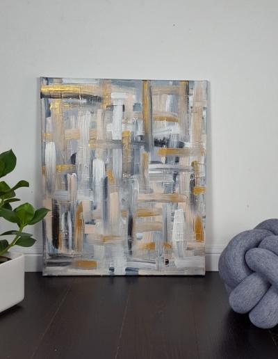 Acryl-Leinwandbild: Gold, Nude, Schwarz