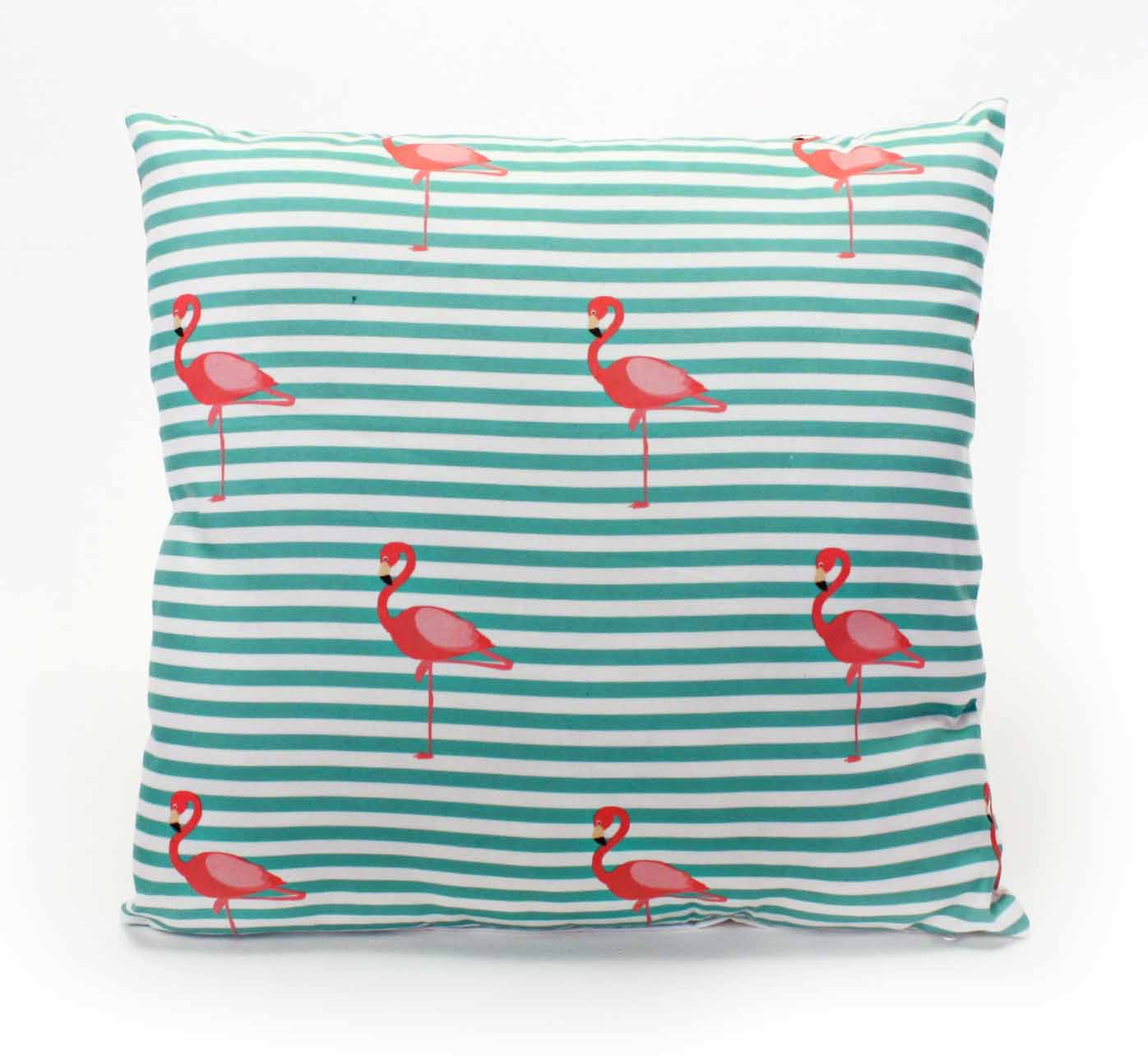 Kissen in Türkis mit Streifen und Flamingo-Print