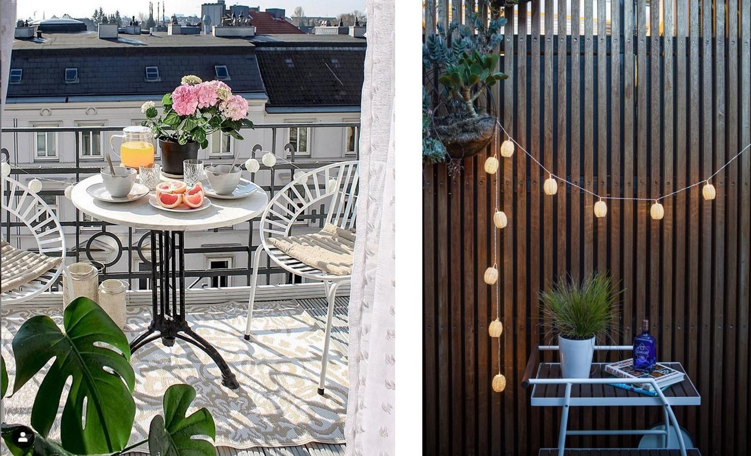 Balkon-Styling mit Palettenmöbeln, Teppichen und Deko