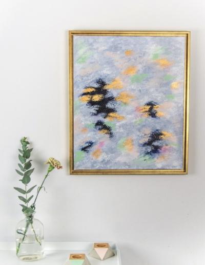Acryl Leinwandbild Pastell und Gold