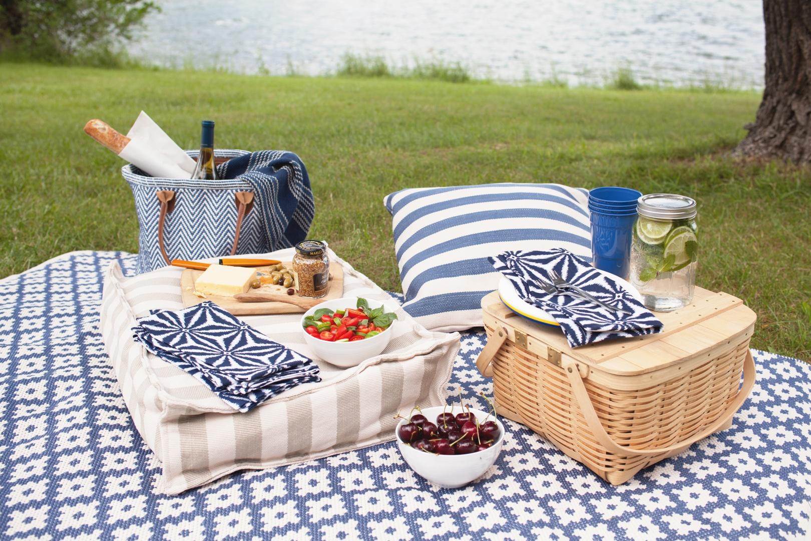 Outdoor-Teppich Blau und Weiß