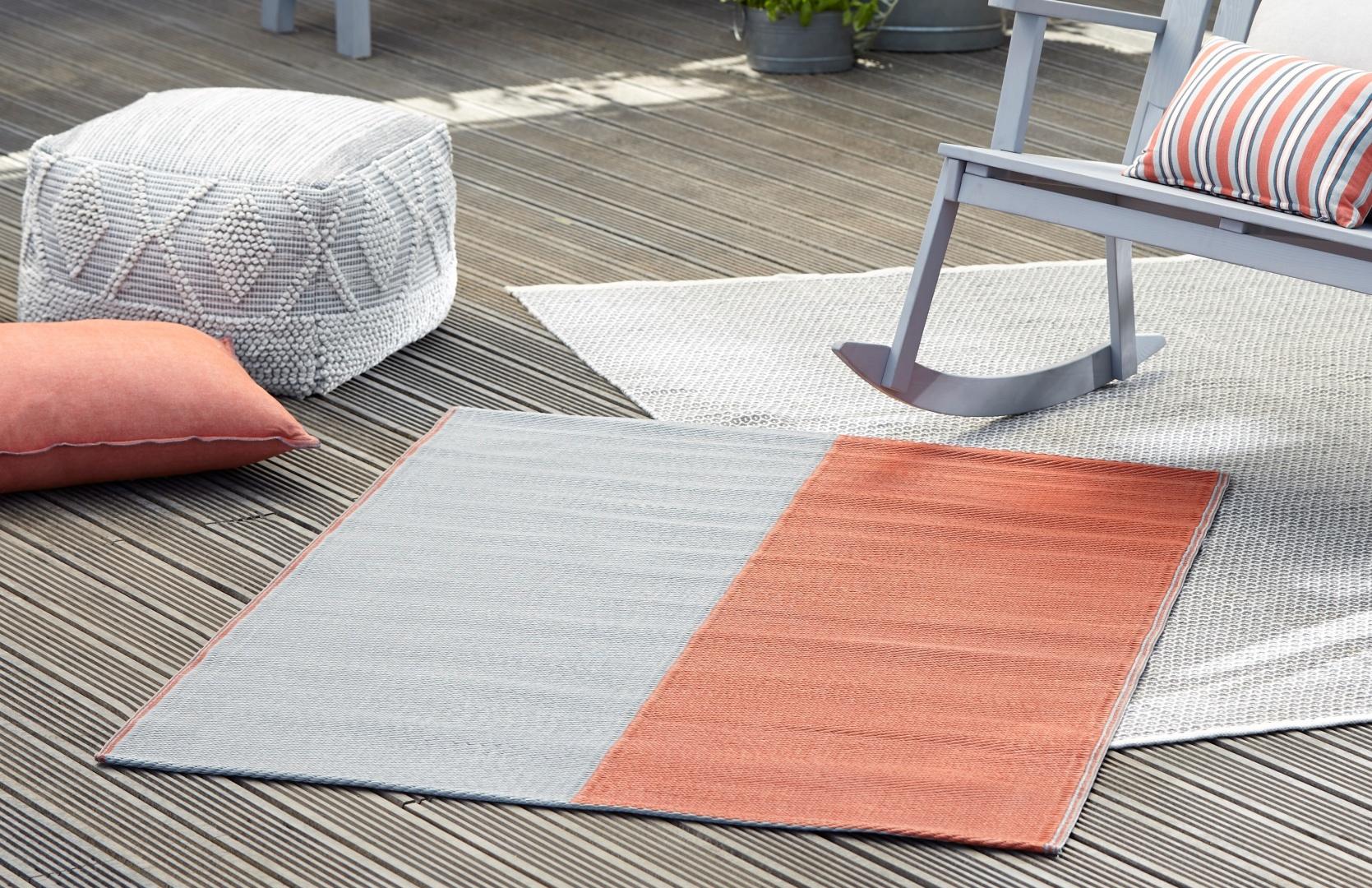 Outdoor-Teppich Orange und Weiß
